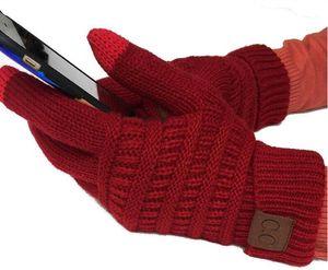 قفازات CC محبوك الشتاء الصلبة اللون للجنسين شاشة تعمل باللمس قفازات الشتاء CC شاشة اللمس الحياكة قفازات الذكية الهواتف المحمولة خمسة أصابع 2019