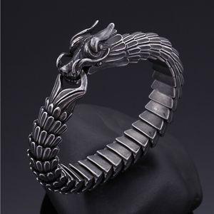 Punk Hayvan Dragon Başkanı Charm Bilezik Erkekler Paslanmaz Çelik Siyah Mat Çin Ejderha Blessing Bisiklet Bilezik Bileklik Takı 22cm