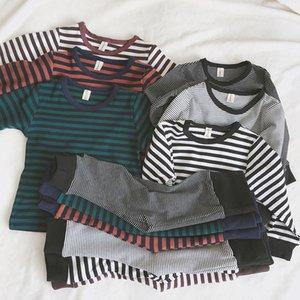 Baby Clothes Set Boys Girls Stripe Long Sleeve Tops High Waist Pants Children Pajamas Suit 2pcs Home Clothing Kids Tracksuit