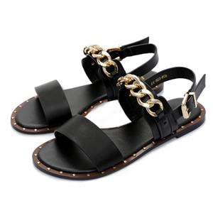 Ekoak Yeni 2019 Moda Deri Sandalet Kadınlar Yaz Bayanlar Elbise Ayakkabı Kadın Metal Zincir ile Plaj Ayakkabı Düz Sandalet