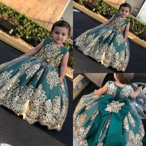 2019 Little Flower Girls 'vestidos com apliques de renda de ouro longo pageant vestidos Jade Bow Princess Dress