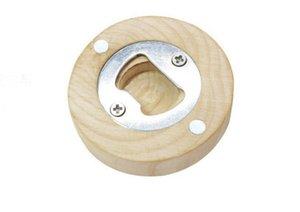 50Pcs lot DIY Wooden Round Shape Bottle Opener Coaster Fridge Magnet Decoration Beer Bottle Opener Custom logo