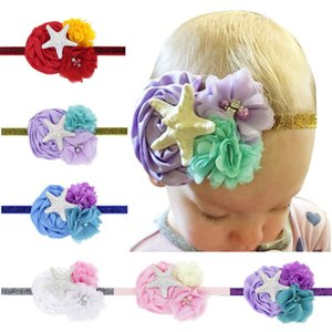 Baby Chiffon Starfish Flower Headbands Girls Princess Flowers Hairbands Cute kids Accessori per capelli Copricapo Spedizione gratuita