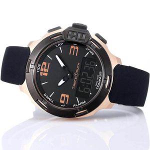 T Race Touch T081 Pantalla Altímetro Brújula Cronógrafo Cuarzo Correa de caucho negro Despliegue Broche Reloj de pulsera para hombre Reloj de pulsera Relojes