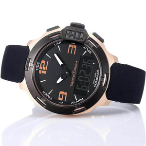 Relojes T081 Touch Hombre Hombre Reloj Green Blue Compass Chrono Altímetro Race Caucho Correa Hombre T Pantalla Relojes de pulsera Despliegue CREST JVFMI