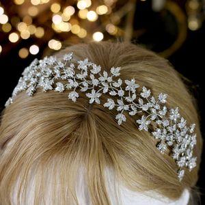 Headwear de lujo novia de la boda Corona Hairband de la guirnalda de novia con Zirconia de pelo Complementos Mujer suave tocado