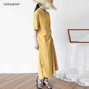 Für kleid frauen o neck halbe hülse lose übergröße unregelmäßigen rand lange kleider korean fashion casual designer weibliche kleidung neu