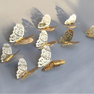 12pcs / lot 3D creux d'or d'argent papillon Stickers Muraux Art Accueil Décorations Stickers muraux pour partie Papillons Afficher de mariage