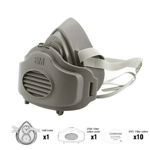 3200 Toz Maskesi Yarım Yüz Toz geçirmez Maske Karşıtı Sanayi İnşaat Toz Haze Sis Emniyet Gaz Filtresi Pamuk Kapak Maske