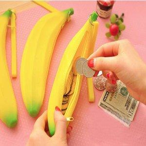 Coin plátano caso la buena calidad de la novedad del monedero del lápiz de silicona carpeta portable de la pluma del bolso del dinero Clave regalo de la promoción llavero Eearphone bolsillo de la bolsa