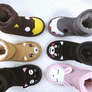 ugg boots Niñas Estilo de Australia uuu Niños Botas de nieve Arco lindo Volver Impermeable Slip-on Niños Botas de cuero de vaca de invierno 3280 Marca de lujo Diseñador de Wgg