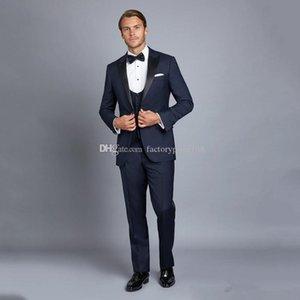 Su misura One Button Groomsmen picco risvolto smoking dello sposo degli uomini vestiti di cerimonia nuziale / promenade / Cena Best Man Blazer (Jacket + Pants + Tie + Vest) A99