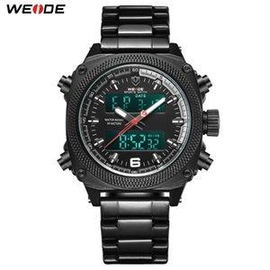 WEIDE Mens Sport Auto Date Semaine Homme Horloge double affichage bande en acier inoxydable Quartz numérique ceinture bracelet Relogio Masculino