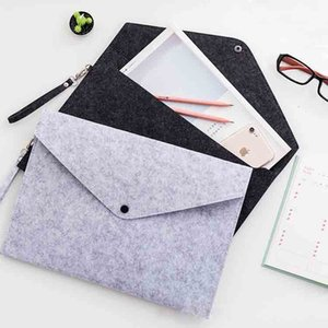 50pcs Oranizer pouch A4 Document File Bags with Snap Button Filing Envelopes felt file paper Folders gift promotion Cheap price