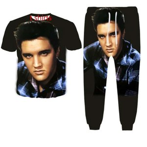 Yeni Moda Kadın / Erkek Elvis Presley Komik 3d Baskı Tişört + koşucu Pantolon Casusal Eşofman Sets2