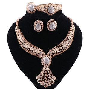 Jewelry Sets For Women Fine Crystal Necklace Earrings Set African Beads Gold Color Pendant Wedding Dress Accessories