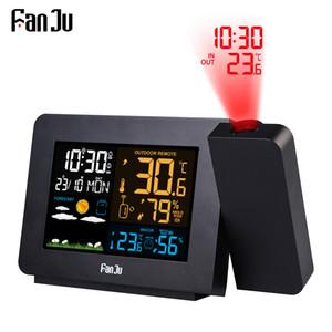 Alarme FanJu Digital Clock Weather Station LED Temperatura Umidade Previsão Snooze Relógio de mesa com o tempo SH190924 Projeção