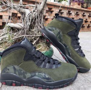 2019 New 10 Woodland Camo Мужчины Баскетбольные кроссовки 10s Medium Olive Black-Dark Army Cinder Мужские спортивные кроссовки Мужские кроссовки 310805-201 Размер 40-