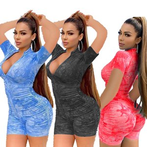 Women Sexy Jumpsuits Pleated Tie-dyed Shorts Short-sleeved Rompers Zipper Half-high Collar Fitness Pants Sports Casual Jumpsuit Cy898