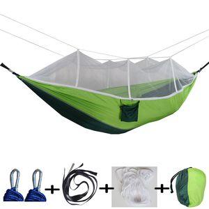12 Farben 260 * 140 cm Hängematte Mit Moskitonetz Outdoor Fallschirm Hängematte Feld Camping Zelt Garten Camping Schaukel Hängen Bett BH1746 TQQ