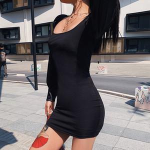 Длинные рукава платья Женщины площади Воротник черный карандаш платья Элегантные дамы платья Тонкий сплошной цвет осени Vestidos