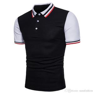 Verão Mens Patchwork Polo Moda Masculina Slim Fit manga curta T-shirts Primavera Mens Designer Casual