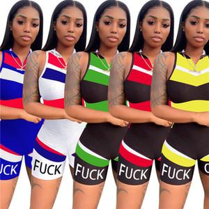 Sommer-Frauen-Overall Trendy Letter Print Strampler Zipper Sleeveless kurze Hosen Jumpsuits Art und Weise einteiliger Bodysuit Bodycon Outfits Kleidung