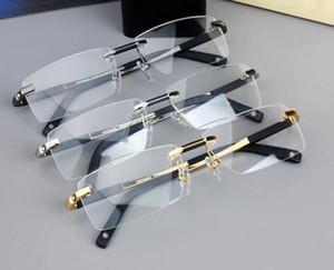 Neues Design Randlose Gläser Breite Brillen Männer Quadratische Brillenrahmen 0349 Titan Gläser Verordnungslinien Linse Optische Rahmenbrille