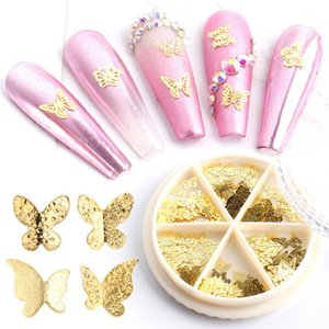 1 Wheel Charm 3D Alloy Metal Butterfly Nail Decoration Gold Silver Hollow Flat Slice Nail Art Flakes Rhinestones