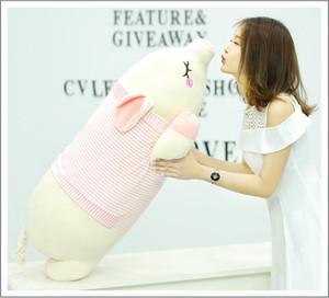 Squishy Pig giocattoli farciti bambola Sdraiato peluche Piggy giocattolo Verde Rosa Animali morbida Plushie scaldino della mano Blanket regalo dei capretti Confortante