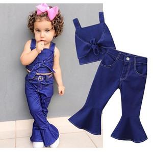 2019 Criança Criança Bebê Menina Denim Outfit Roupas Conjuntos Sólidos Camisola Camisa Cami Calças Perna Larga Roupas Set 1-6A