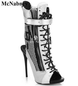 atado a la Cruz McNabney mujeres botas cortas Rhinestone con cordones de peep toe de tacón de aguja de mitad de la pantorrilla Botas Damas cremallera de la manera zapatos de las mujeres
