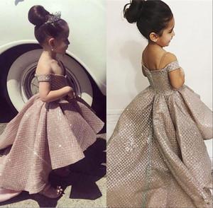 Sevimli kapalı omuz Çiçek kız elbise Hi-Lo kabarık Pageant elbise çocuklar resmi Giyim düğün Eevent Brithday Parti