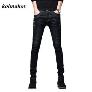 Kolmakov nueva llegada de los hombres del estilo encanto pantalones jeans de alta calidad de la manera sólido ocasional lápiz de los pantalones de los hombres delgados de Pantalón ajustado