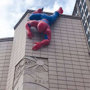 6m Länge Werbung Inflatables Ballon Aufblasbarer Spiderman mit LED-Streifen für Gebäudeaußendekoration Beleuchtetes