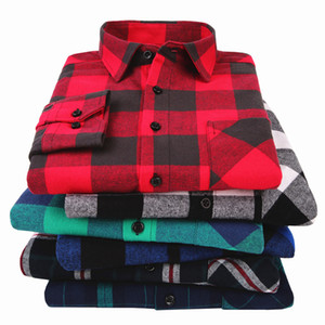 100% Baumwolle Flanell Männer Plaid Shirt Slim Fit Frühlings-Herbst-Männer Marke beiläufige lange Langarm weiche bequeme