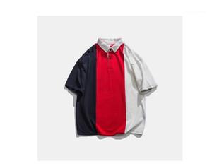 Para hombre verano neck camiseta floja ocasional remiendo Vestido de tirantes para hombre retro del verano de solapa Diseñador Polos Sólido Botón decoración del color de manga corta