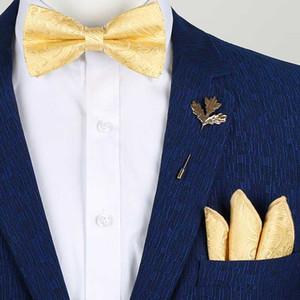 Ouro de seda laços para Yellow Handkerchief Bowtie Broche Set borboleta noeud casamento papillon homme Men Moda masculina