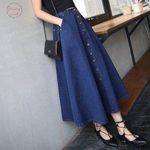 2020 Fashion Korean Preppy Style Denim Women Solid Color Long Summer Skirt High Waist Feminina Big Hem Casual Zipper Button Jean Skirts
