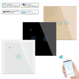 2020 wifi light switch 1 gang on  off touch wall switchalexa compatible EU standard tuya wifi smart switch