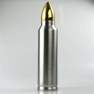 Forma de la bala termo 500ml Copa de aislamiento de acero inoxidable de vacío botella de agua militar Copa del misil taza de café Vasos A05