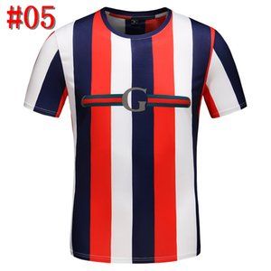 2019 Lüks Avrupa Paris Nakış Kontrast patchwork Tshirt Moda Erkek Tasarımcılar T Gömlek Casual Erkek Giyim Pamuk Tee
