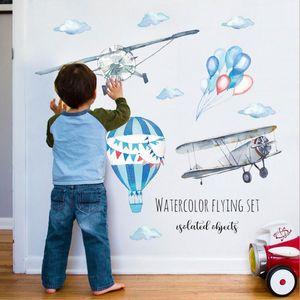 Акварели Hot Air Balloon Plane Главная Обои Мультфильм Ручная роспись Детская комната Детская Mural Таблички отель стикер стены