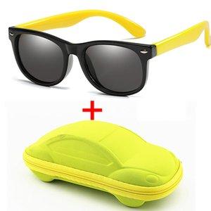 Werben Kinder polarisiert Sonnenbrille Jungen-Mädchen-Baby-Silikon-Sicherheit für Kinder Sonnenbrillen 100% UV400 Eyewear Kind Oculos mit Etui