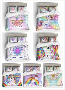 HOT Cartoon Pink Unicorn Bedding set with pillowcases gifts for girls