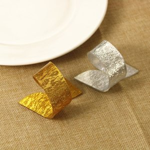 Gold Silver Napkin Rings Wedding Christmas Holiday Restaurant Table Dinner Decoration
