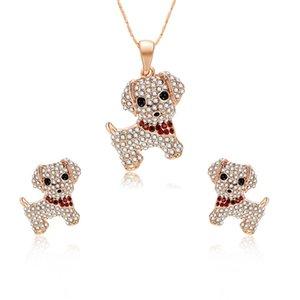 HC Moda Kristal Karikatür Hayvan Kız Çocuk Hediye Küpe Kolye Takı Sevimli Lovely Küçük Köpek kolye Çocuk Takı T Set