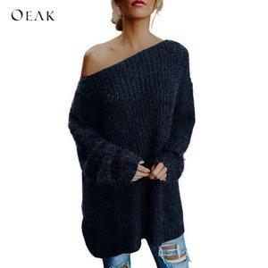 OEAK Mujeres Sexy Off Shoulder Knitted Sweater Pullover Otoño Casual Manga Larga Oversize Jumper Mujer Loose Knitwear Streetwear