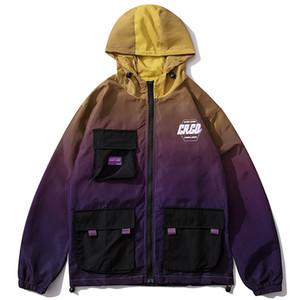 멀티 그라데이션 컬러 후드 윈드 브레이커 재킷 남성 힙합 전체가 트랙 자켓 코트 패션 착실히 보내다 우편 번호 포켓