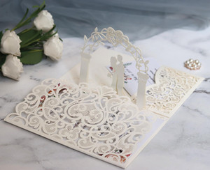 Cartes d'invitation de mariage 3D Le laser creux de la mariée et de l'époux d'ivoire invitations blanches pour l'engagement de mariage par DHL Hot Selling